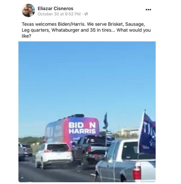 Eliazar Cisnseros, named in the Trump train lawsuit, boasts on Twitter about serving up 35-inch wheels to the Biden campaign.