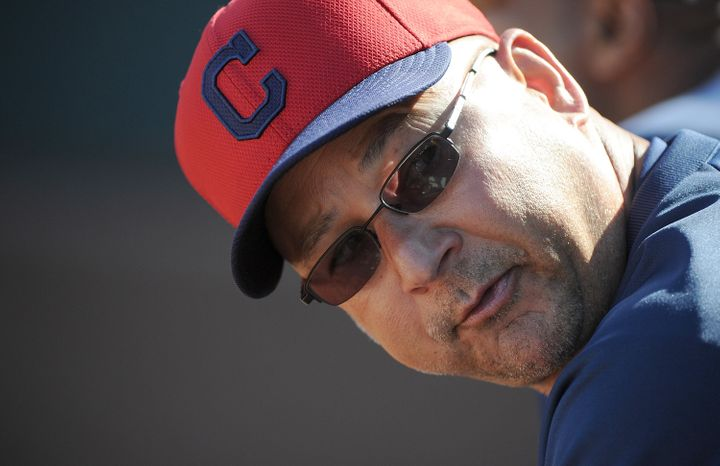 SURPRISE, AZ - FEBRUARY 28:  Manager Terry Francona of the Cleveland Indians looks on during the game against the Texas Range