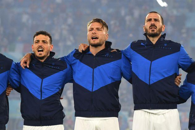 ROME, ITALY - JUNE 11: (L - R) Alessandro Florenzi, Ciro Immobile and Leonardo Bonucci of Italy line...