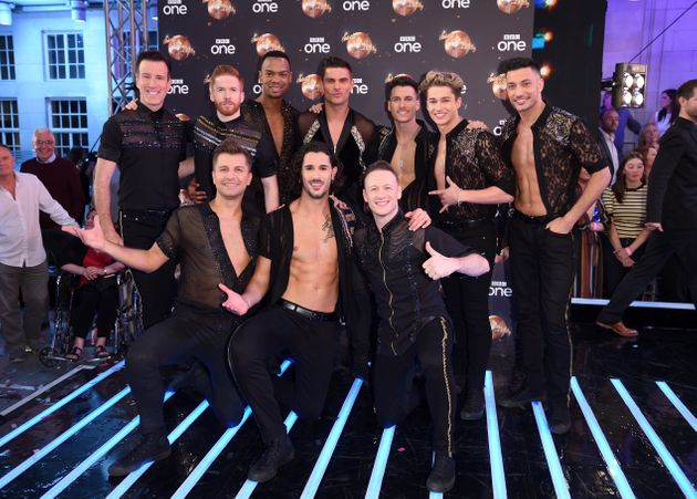 Kevin posing with his fellow male Strictly pros in