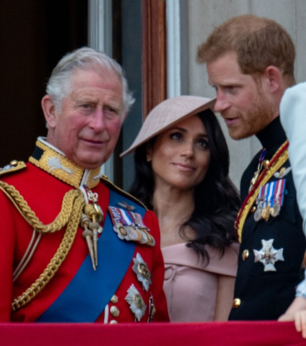 LONDON, ENGLAND - JUNE 09: Prince Charles, Prince of Wales with Prince Harry, Duke of Sussex and Meghan,...