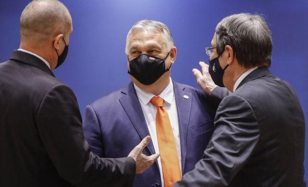 Hungarian Prime Minister Viktor Orban (C) and Cyprus President of the Republic Nicos Anastasiades (R)...