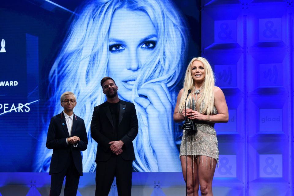 Britney Spears accepting the Vanguard Award at the GLAAD Media