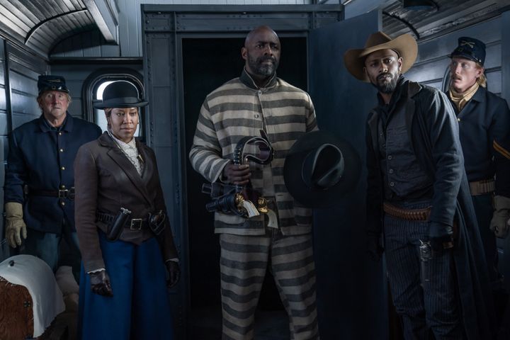 """Regina King, Idris Elba and Lakeith Stanfield on the set of upcoming Netflix Western, """"The Harder They Fall."""""""