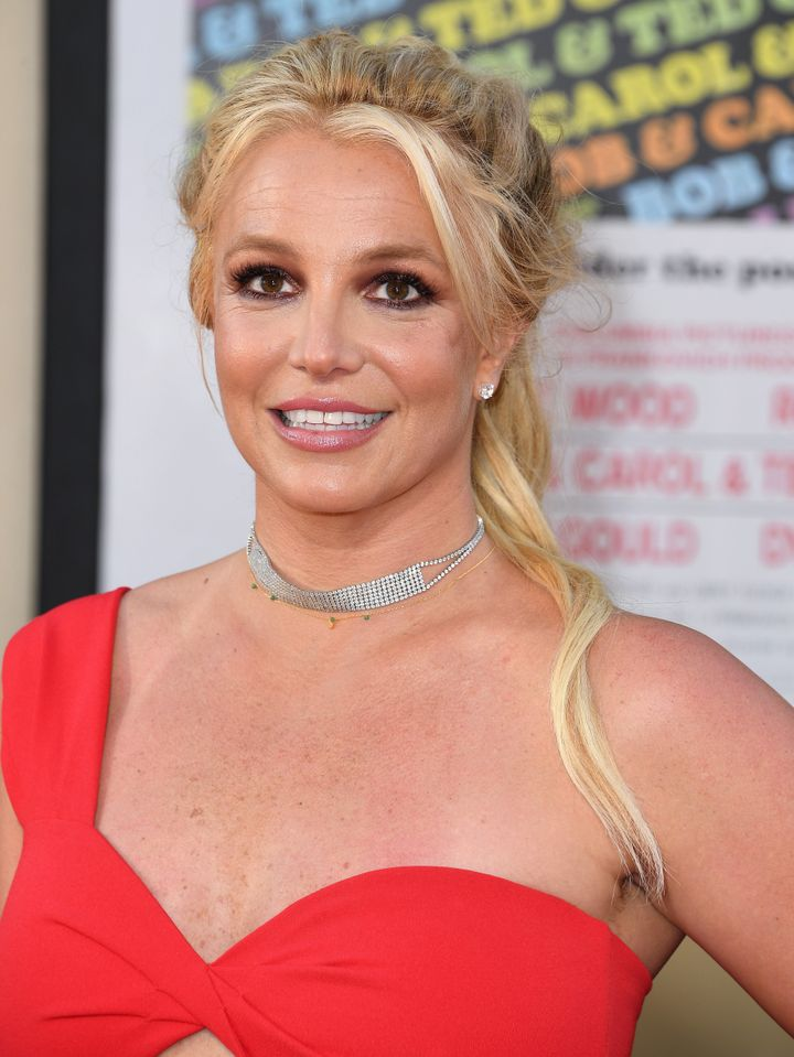 """Britney Spears arrives at the """"Once Upon A Time...In Hollywood"""" premiere on July 22, 2019 in Hollywood, California."""