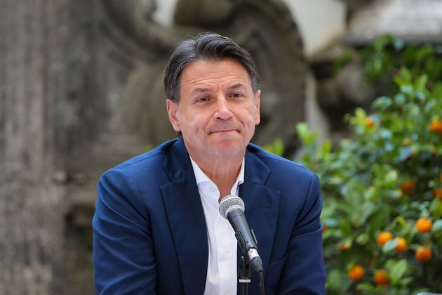 NAPLES, ITALY - 2021/06/15: The political leader of the 5 Star Movement, Giuseppe Conte, during the press...
