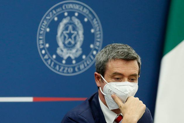 The minister of Minister of Labour Andrea Orlando during the press conference after the minister's cabinet....