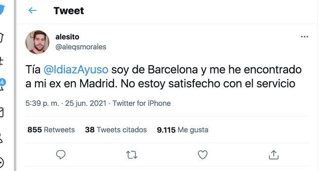 El tuit de un ciudadano de Barcelona dirigido a