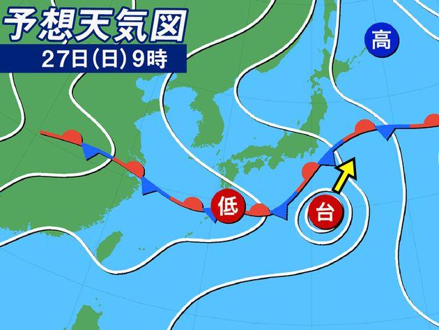 予想天気図 27日(木)9時