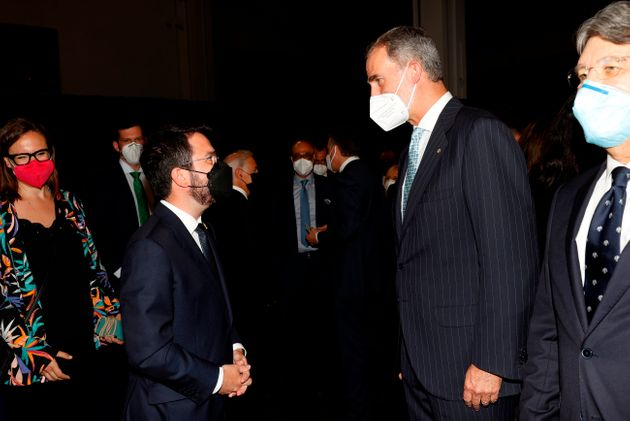 Pere Aragonès saluda al rey Felipe VI antes del Mobile World