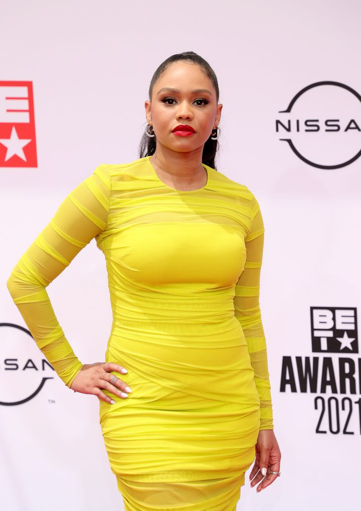 """Actor Tanisha Long stars in """"Bigger,"""" which airs on BET+. Long also co-hosted BET's red carpet special """"Countdown To The BET Awards."""""""