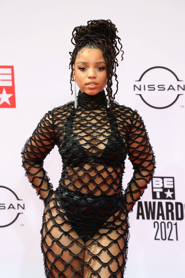 Chloe Bailey of Chloe x Halle attends the BET Awards 2021. Chloe x Halle is nominated for several awards.