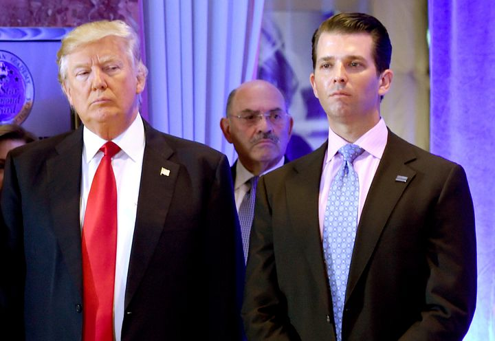 President-elect Donald Trump and his son Donald Trump Jr. arrive for a press conference at Trump Tower in New York, as Allen