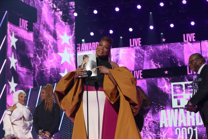 Queen Latifah accepts the Lifetime Achievement BET Award onstage at the BET Awards 2021 on June 27 in Los Angeles, California