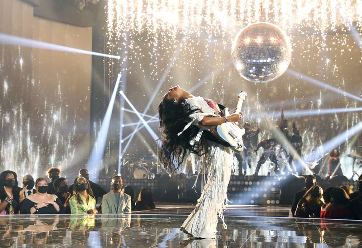 H.E.R. performs onstage at the BET Awards 2021.