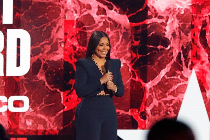 Lauren London speaks onstage at the BET Awards 2021.