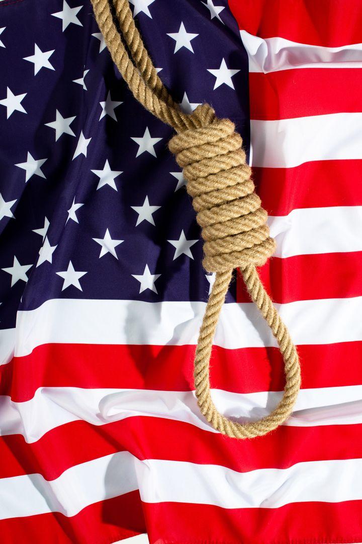 hangman knot on american flag....
