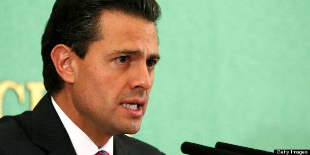 Enrique Pena Nieto, Mexico's president, speaks during a news conference at the Japan National Press Club in Tokyo, Japan, on
