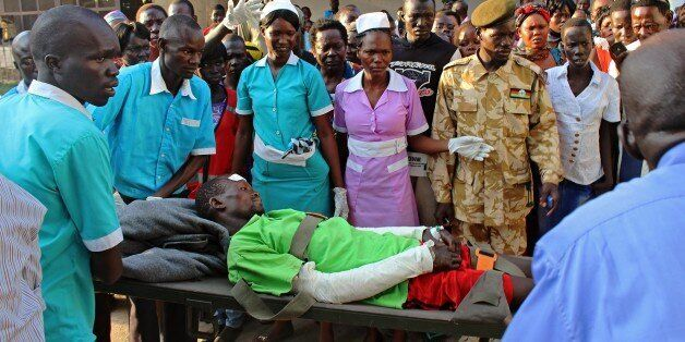 One of around 50 injured patients who were evacuated to Juba on flights provided by the Red Cross, the South Sudanese government and the U.N arrives at Juba hospital on September 18, 2015. A fuel tanker carrying petrol overturned and exploded as people gathered to siphon off the spilled fuel. 183 people are believed to have died in the accident which happened on September 16, 2015 outside Maridiin Equatorial state. AFP PHOTO/Samir Bol (Photo credit should read SAMIR BOL/AFP/Getty Images)