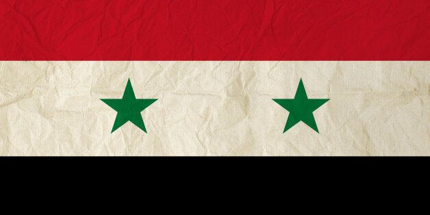 Flag of Syria with vintage old paper texture - Syrian Arab Republic