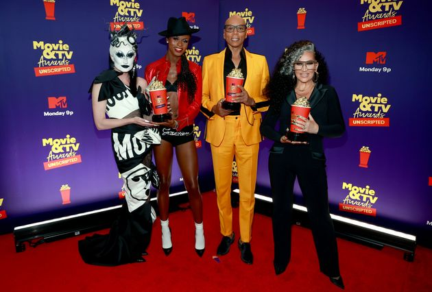 Gottmik with Symone, RuPaul and Michelle Visage
