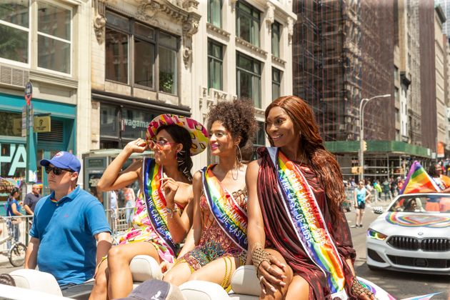 Pose stars Mj Rodriguz, Indya Moore and Dominique Jackson at New York Pride in 2019