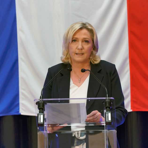 HENIN-BEAUMONT, FRANCE - JUNE 20: French far-right National Rally leader Marine Le Pen delivers speech...