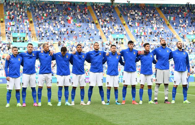 ROME, ITALY - JUNE 20: Players of Italy stand for the national anthem prior to the UEFA Euro 2020 Championship...