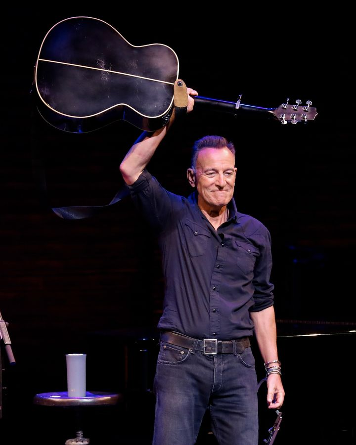 """Springsteen performs during reopening night of """"Springsteen on Broadway"""" for a full-capacity, vaccinated audience at St. Jame"""