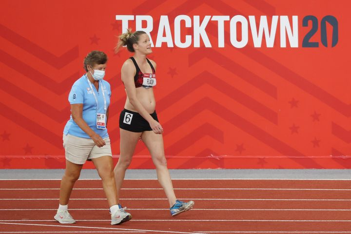 Lindsay Flach walks from the track after dropping out of the Women's Heptathlon 800 Meters during day 10 of the 2020 U.S. Oly