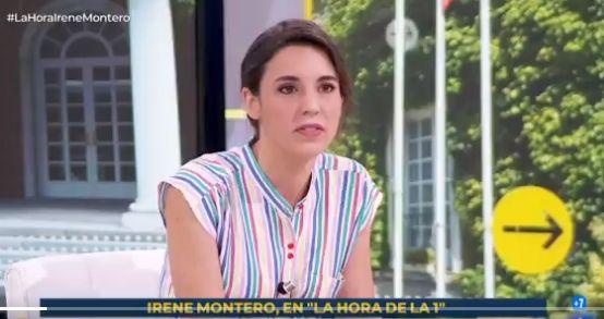 La ministra Irene Montero, durante su entrevista en 'La Hora de La