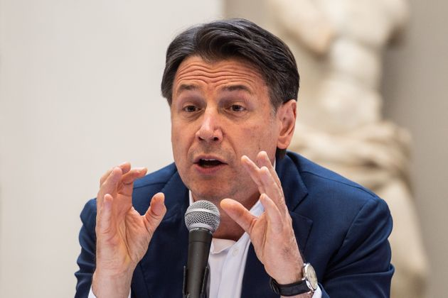 NAPLES, ITALY - JUNE 15: Giuseppe Conte attends the press conference on June 15, 2021 in Naples, Italy....