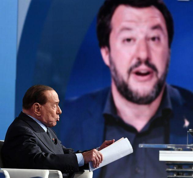 21/05/2019 Roma. Rai. Trasmissione televisiva Porta a Porta, nella foto Silvio Berlusconi con Arrigo...