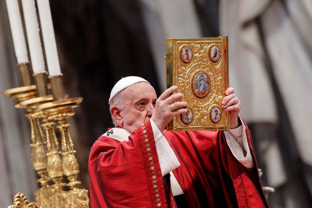 Pope Francis leads a Holy Mass on the Solemnity of Saints Peter and Paul, Apostles in Saint Peter's Basilica...