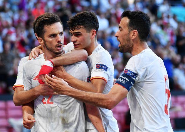 Pablo Sarabia celebra su gol ante