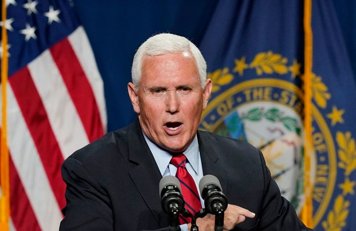 Former Vice President Mike Pence speaks at the annual Hillsborough County NH GOP Lincoln-Reagan Dinner, Thursday, June 3, 202