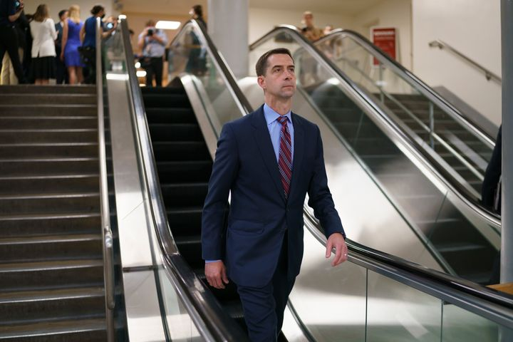 In this May 27, 2021, file photo, Sen. Tom Cotton, R-Ark., takes the escalator as senators go to the chamber for votes ahead
