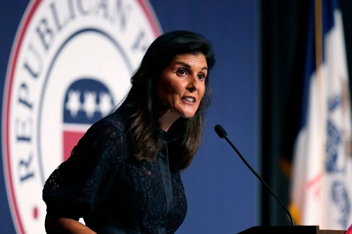 Former Ambassador to the United Nations Nikki Haley speaks during the Iowa Republican Party's Lincoln Dinner, Thursday, June