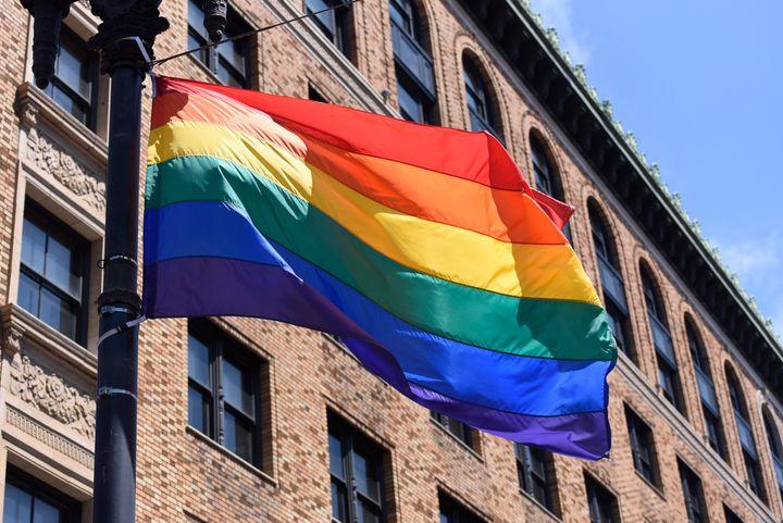 The Pride Flag flies over the San Francisco Gay Pride parade in San Francisco, California.