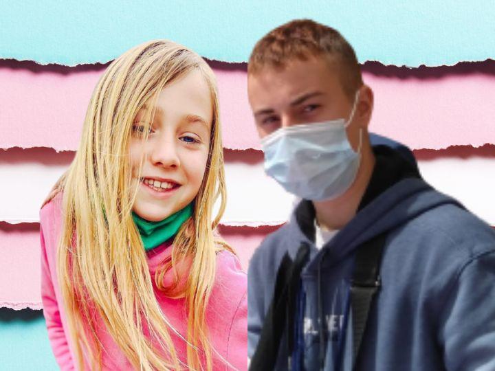 Cloe Aicart, de 10 años, y Mario, de 17, dos menores trans.