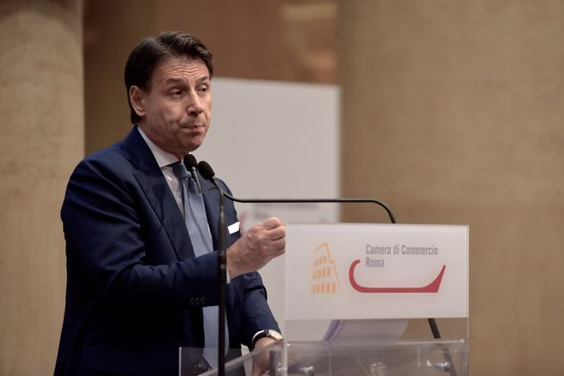 ROME, ITALY - JUNE 28: Former Prime Minister Giuseppe Conte holds a press conference at the Tempio di...