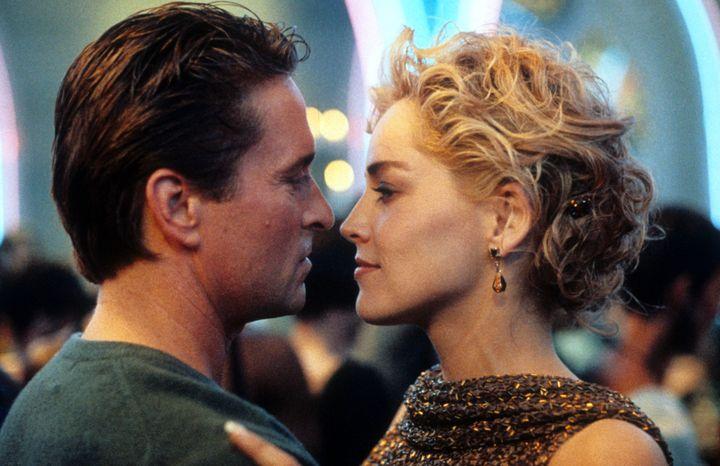 "Michael Douglas (left) and Sharon Stone in 1992's ""Basic Instinct."""