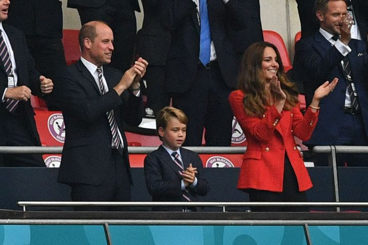 Prince William, Prince George and Kate Middleton celebrate the first goal in the UEFA EURO 2020 round of 16 football match be