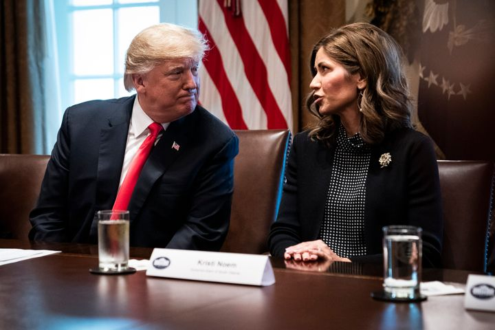 President Donald J. Trump speaks with Kristi Noem of South Dakota during a meeting with governors-elect on Dec. 13, 2018, at