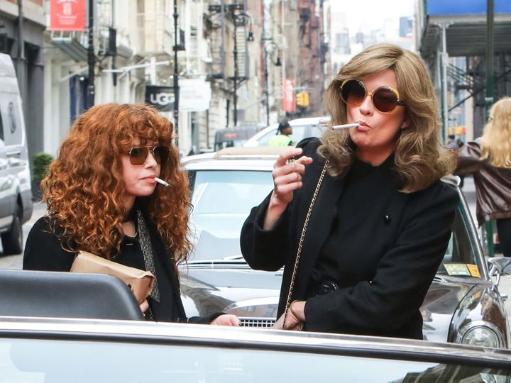 """Natasha Lyonne and Murphy on the set of """"Russian Doll"""" Season 2 in March 2021."""