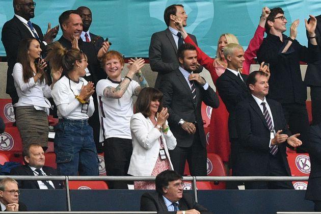 Ed Sheeran and David Beckham at Wembley