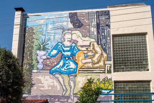 Το έργο του Έλληνα streetartist Kez είναι διασκευή γνωστού έργου του λαϊκού ζωγράφου Θεόφιλου