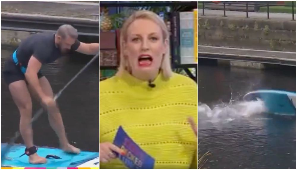 John Whaite Tried Paddle Boarding Live On Steph's Packed Lunch And You Can Guess How It Turned Out