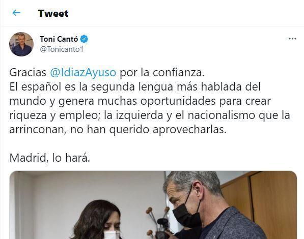 El tuit de Toni