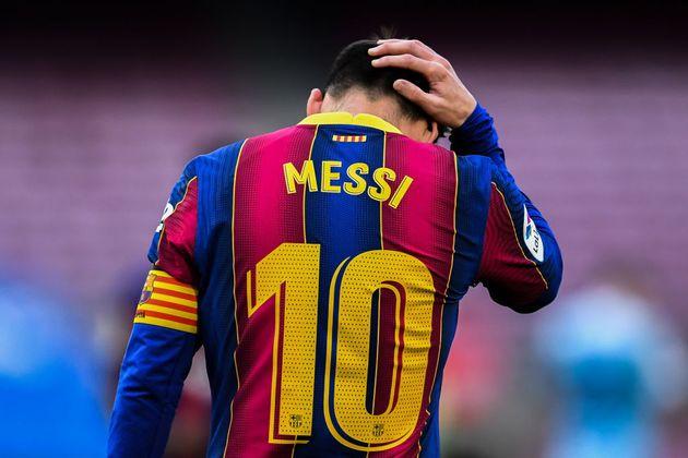 Messi, decepcionado durante un partido del Barça esta